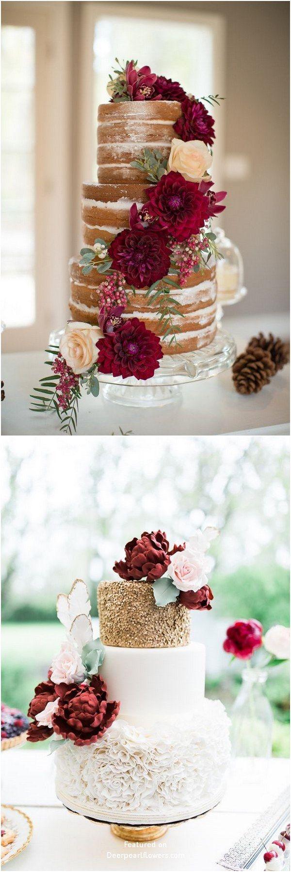 Burgunder und Gold fallen Hochzeitstorte Ideen #Hochzeiten #Kuchen #Hochzeit #Hochzeit …   – Wedding Cakes