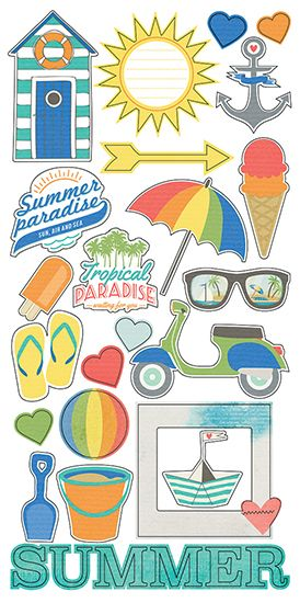 Simple Stories - Summer Paradise Collection - Simple Sets - Cardstock Stickers - Fundamentals
