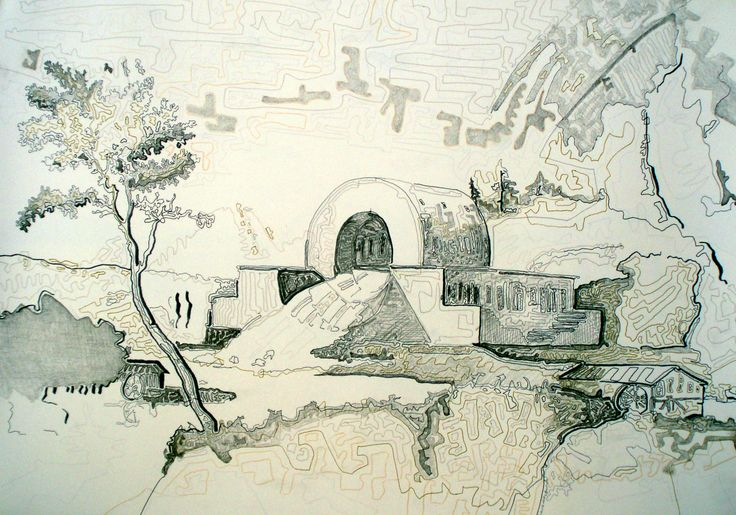 2. Giorgos Papadatos, The house of guards of the waters (after Claude Nicolas Ledoux), marker on schoeller paper, 50X70 cm, 2009,private collection