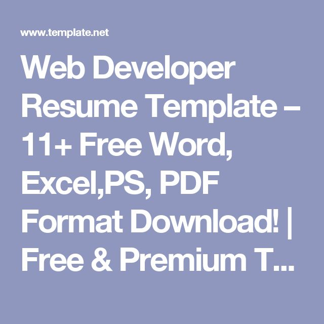 The 25+ best Web developer resume ideas on Pinterest Web - resume download free word format
