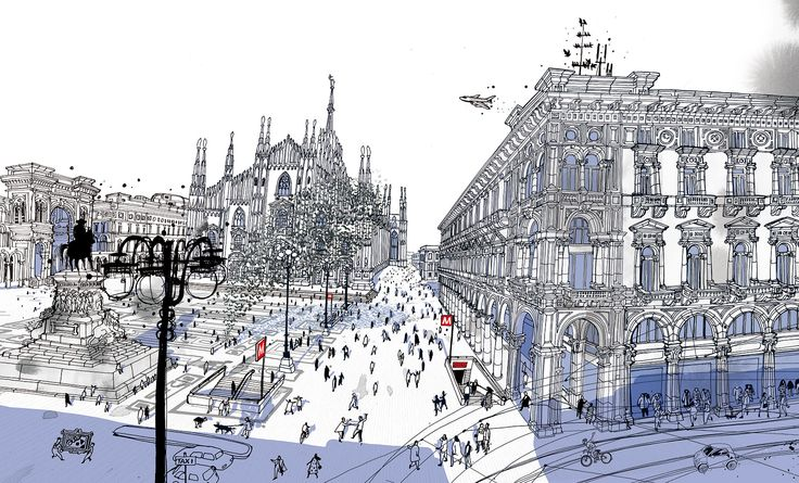 """Piazza Duomo - Milano from """" I am Milan""""- Illustration book by Carlo Stanga - Moleskine"""