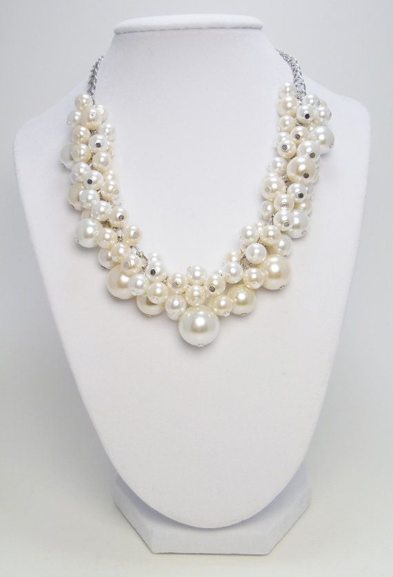 Chunky Pearl Necklace -  White and off white/ivory cluster of pearls bridal, wedding, bridesmaids beaded jewelry necklace - Milky Way -
