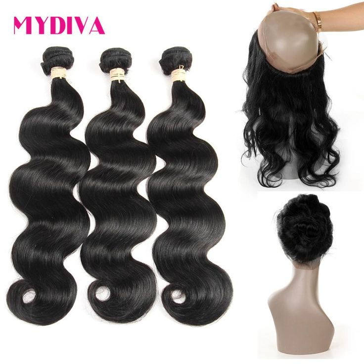 8A 13*4*2 360 Lace Frontal Band With Bundles Brazillian Body Wave With Closure Mydiva Hair With 3 Closure And Bundles