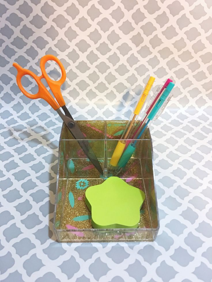 Desk organizer for office or bathroom decor organization. Make up brush holder or pen holder. Glitter office supplies. Paint brush holder. by CraftyCassondra on Etsy https://www.etsy.com/listing/507286391/desk-organizer-for-office-or-bathroom