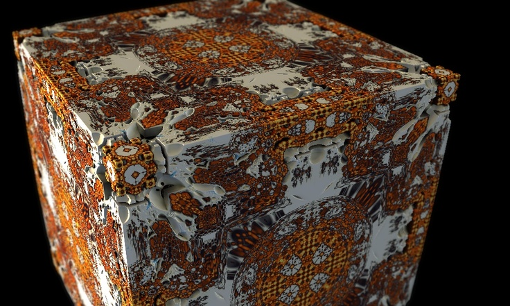 This is the Amazing Box with a white-red-yellow palette assigned to it. What you see is actually a 3D projection of the Mandelbrot set. Those colored coordinates in the previous example are projected in 3D according to some rules. Some coordinates are mirrored. To get this Amazing Box: Scale is -1.5, Min. R is 0.5, Fold is 1. R Bailout is 1024, Smooth DE comb is something like 0.0218 and DEstop is 1.12116. Other parameters give other cubes.