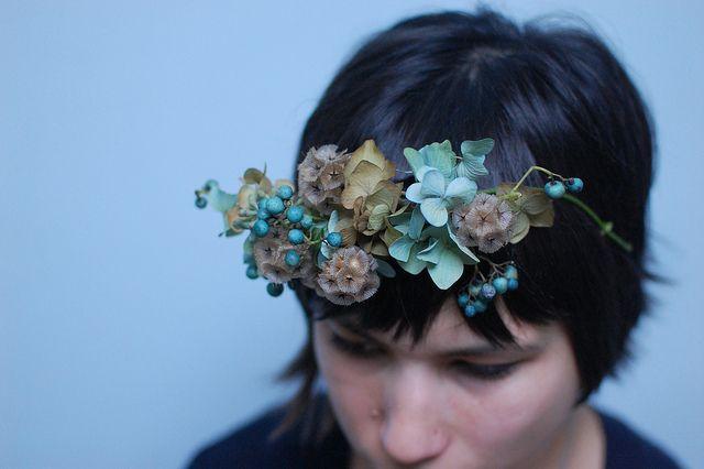 Pretty flower crown by Nicolette Camille for her open studio, (Saipua, Little Flower School).