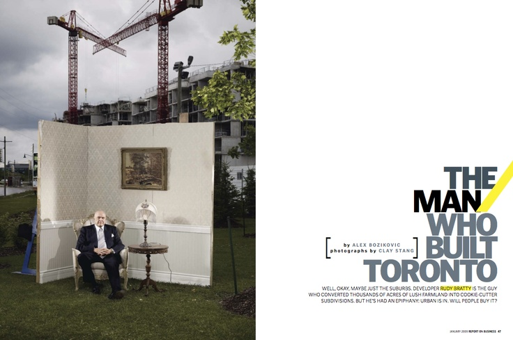 """Silver winner in Portrait #Photography. """"The Main Who Built #Toronto"""" by Clay Stang published in Report On #Business, 2009."""