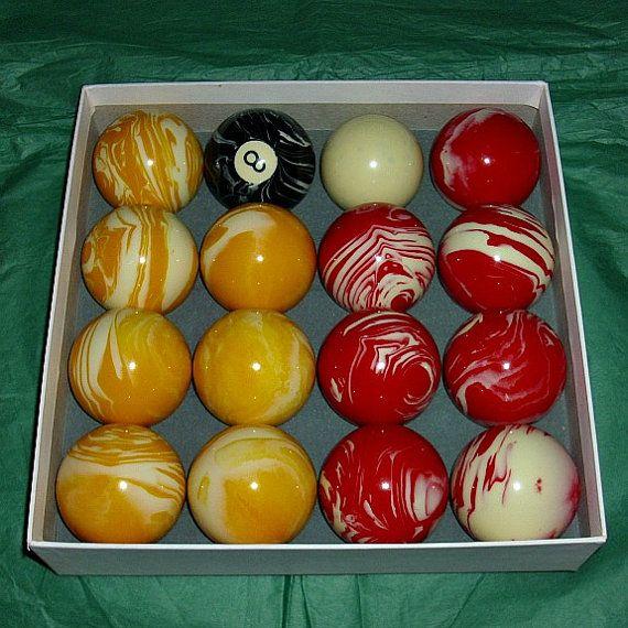 Luxury Marble UK Red & Yellow Pool Balls Inc. Black 8 And ...