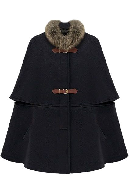 Romwe Fur Collar Navy Cape with Tan Leather Straps