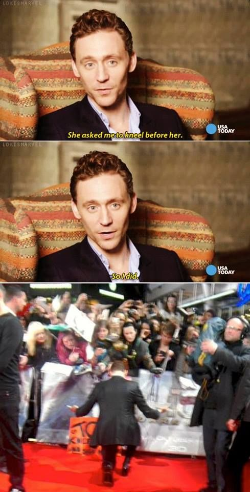 that is what cool means..I love this man /// Tom meets world's greatest Loki cosplayer and kneels for her.