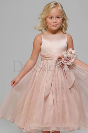 Pink Angle Flower Girl Gown with Innovative Motif Embellishment on the Satin Sash