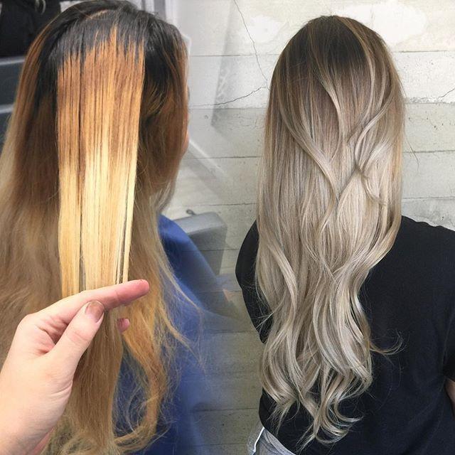 Brassy blonde to platinum silver ombre hotonbeauty.com long blonde hair by Janai Hartt