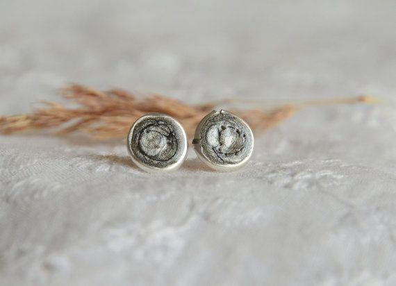 Black gray metallic mens stud earrings black by BalanceAtelier