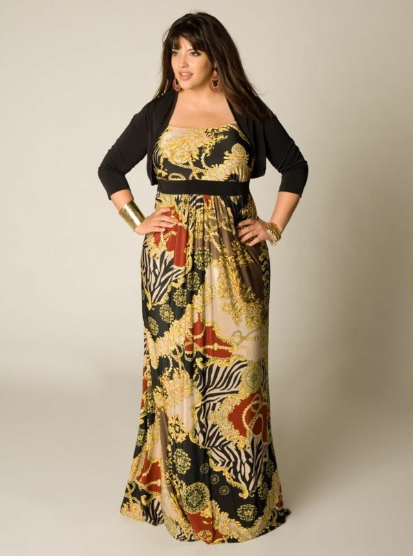 schönes langes kleid mode für mollige junge damen