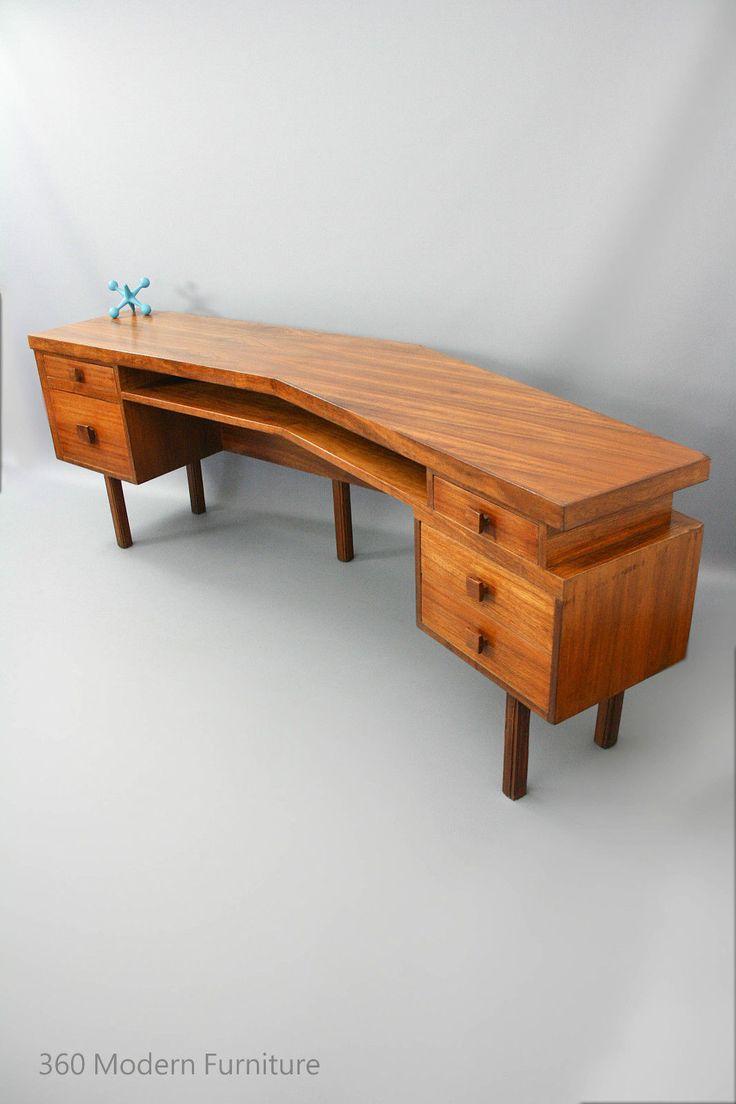 mid century modern custom sideboard desk room divider retro vintage blackbean two person desk