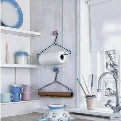 Conexão Décor cabides como suporte de papel para ideias criativas e charmosas para a cozinha http://conexaodecor.com/2017/10/16-ideias-criativas-e-charmosas-para-cozinha-que-voce-pode-fazer/