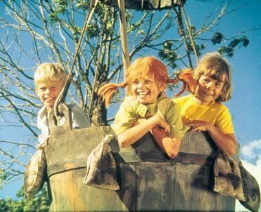 Tommy, Pippi og Annika. Pippi Longstocking (Swedish Pippi Långstrump)
