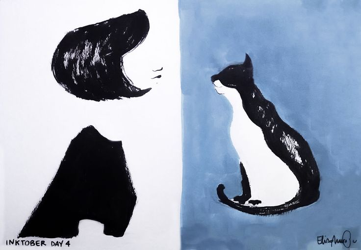 #inktober #day4 #cat #shorthair #black