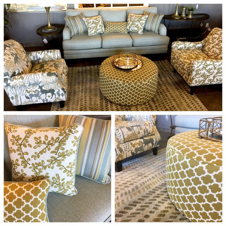 Not sure how to mix patterns?  See how it's done on the Olivia Sofa and accent chairs.