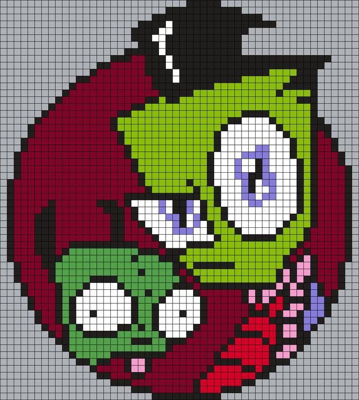 Gir And Zim From Invader Zim Perler Bead Pattern / Bead Sprite