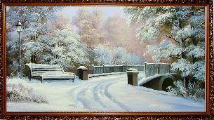 Зимой в парке у моста - Зимний пейзаж <- Картины маслом <- Картины - Каталог | Универсальный интернет-магазин подарков и сувениров