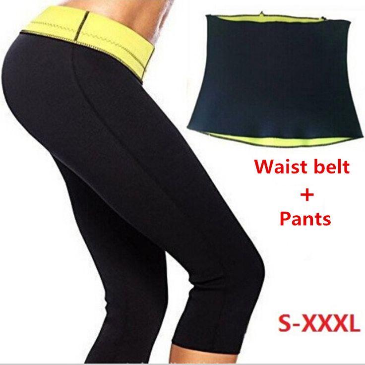 Pants   Waist Belt Hot Shapers Sports Pants Set Women's Slimming Sets Body Shaper Waist Training Corsets Plus Size XXL XXXL