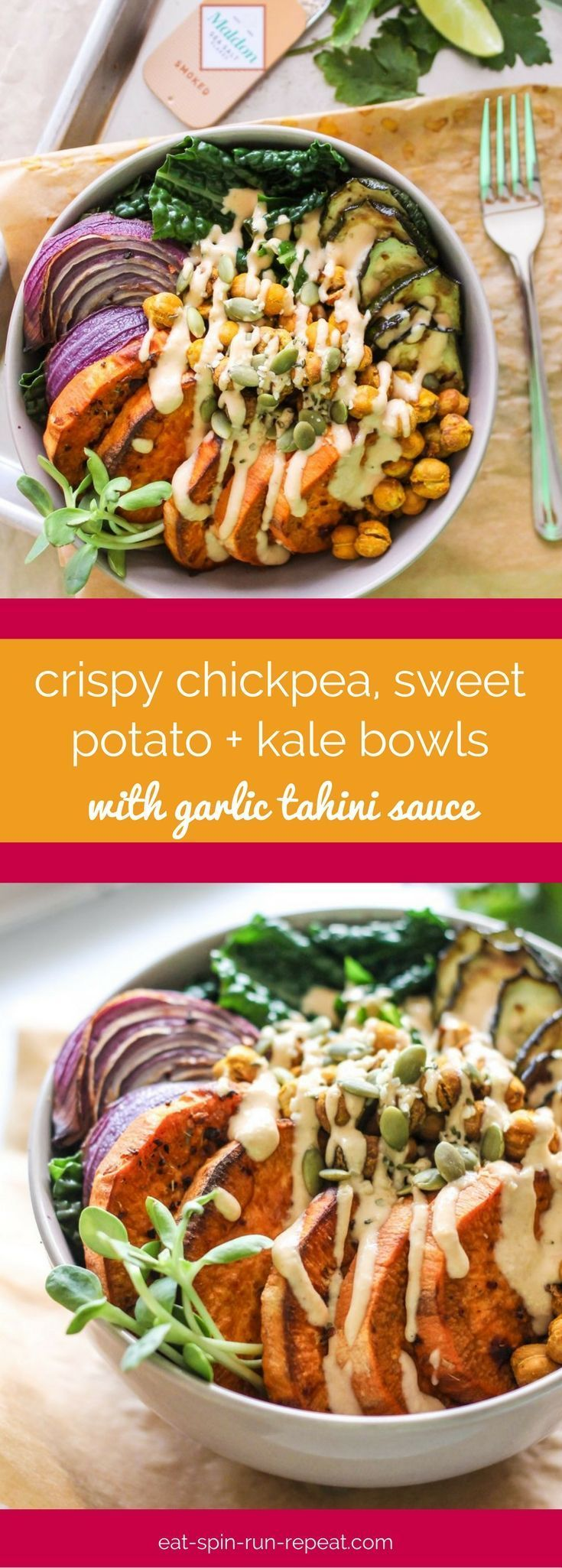 Crispy Chickpea Sweet Potato And Kale Bowls With Garlic Tahini Sauce