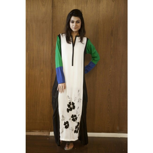 White Kurtha with color blocking and floral designs Item code: CS13W01