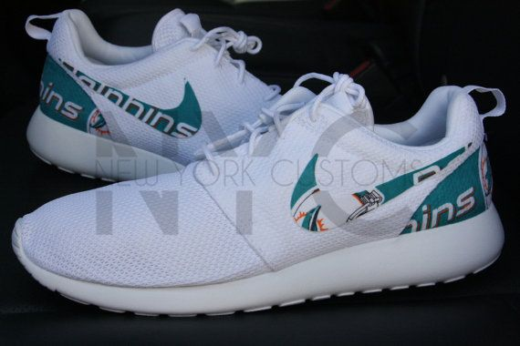 Miami Dolphins Nike Roshe Run Triple White Custom Men by NYCustoms