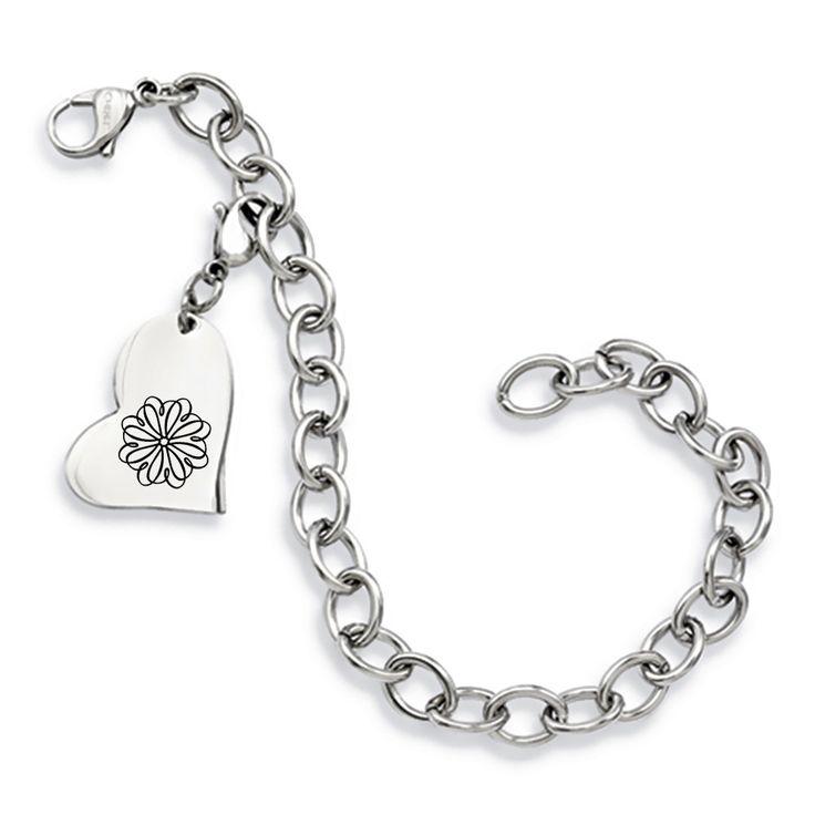 Sigma Kappa Symbol Stainless Steel Heart Bracelet