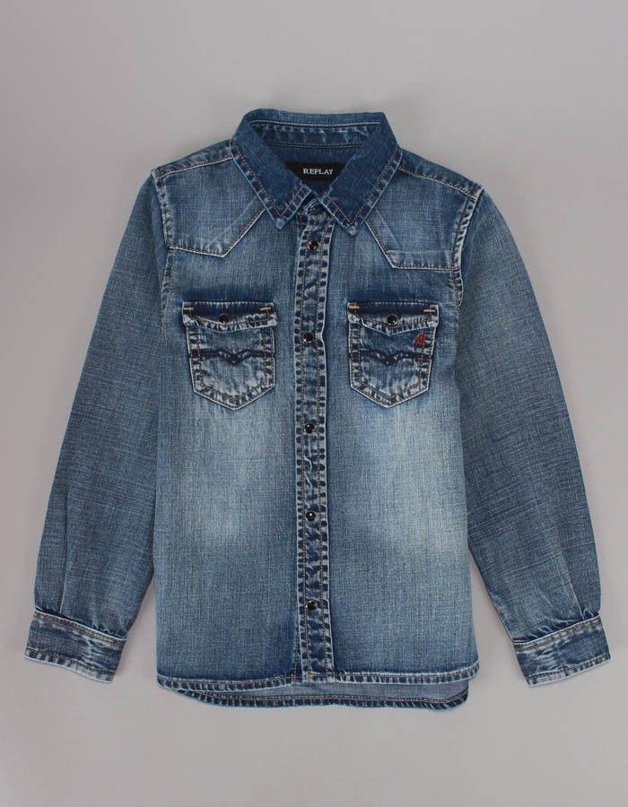 Replay Denim Shirt Denim   Accent Clothing