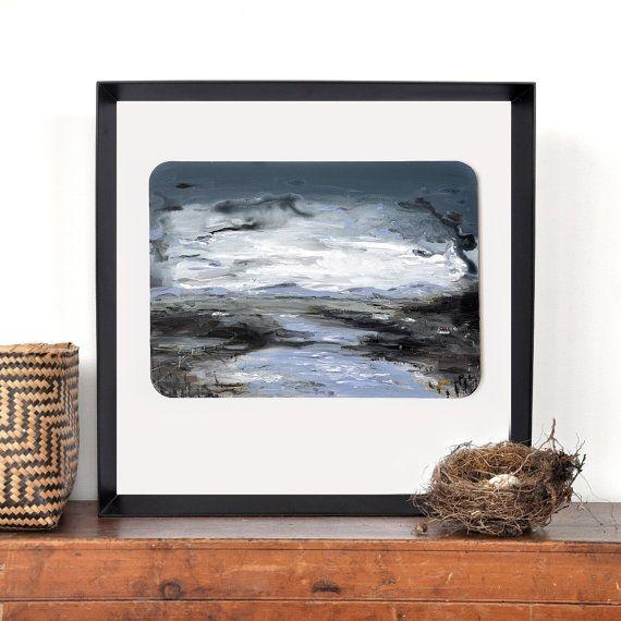 Landscape painting, original dark artwork, river painting, rural scene, lake art, lake house decor, farmland, living room wall art
