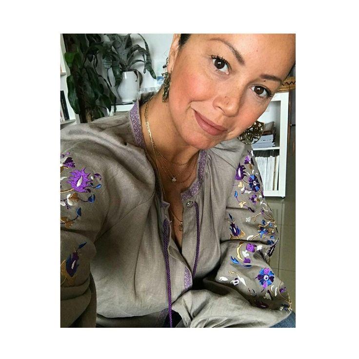 Renata owner of justbrazilstore in Crete wearing the peteine blouse/fw1617 yiorgos koulasidis