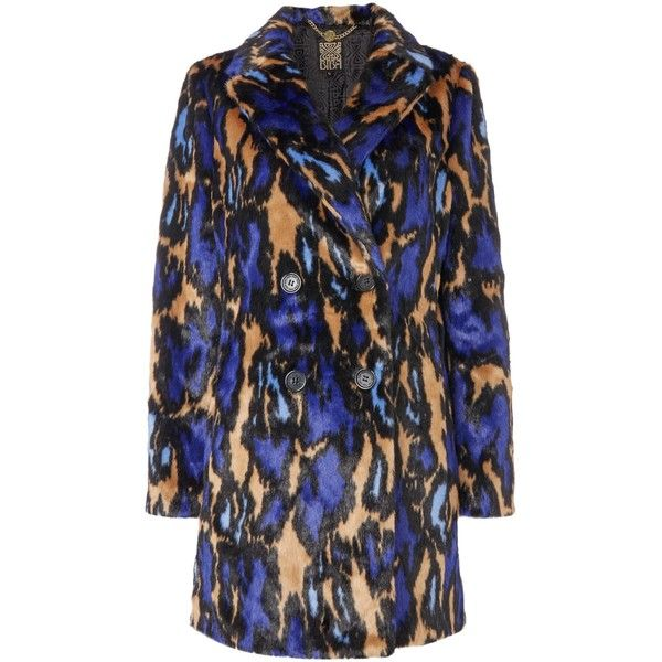 Biba Leopard abstract 60s style faux fur coat ($230) ❤ liked on Polyvore featuring outerwear, coats, women, leopard faux fur coat, waterproof coat,