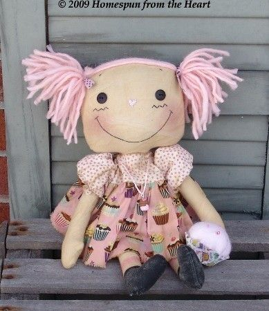 Sewing EPattern Raggedy Ann with Cupcake Doll by CindysHomespun, $5.50