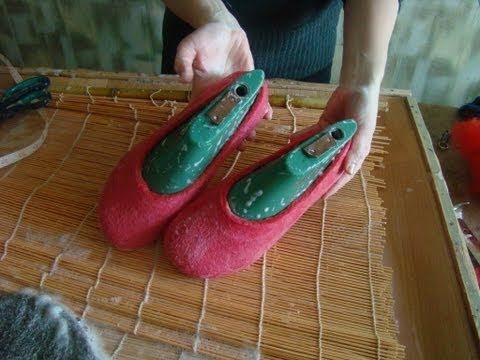 Projet with Wet felting: how to make felted wool shoes and slippers