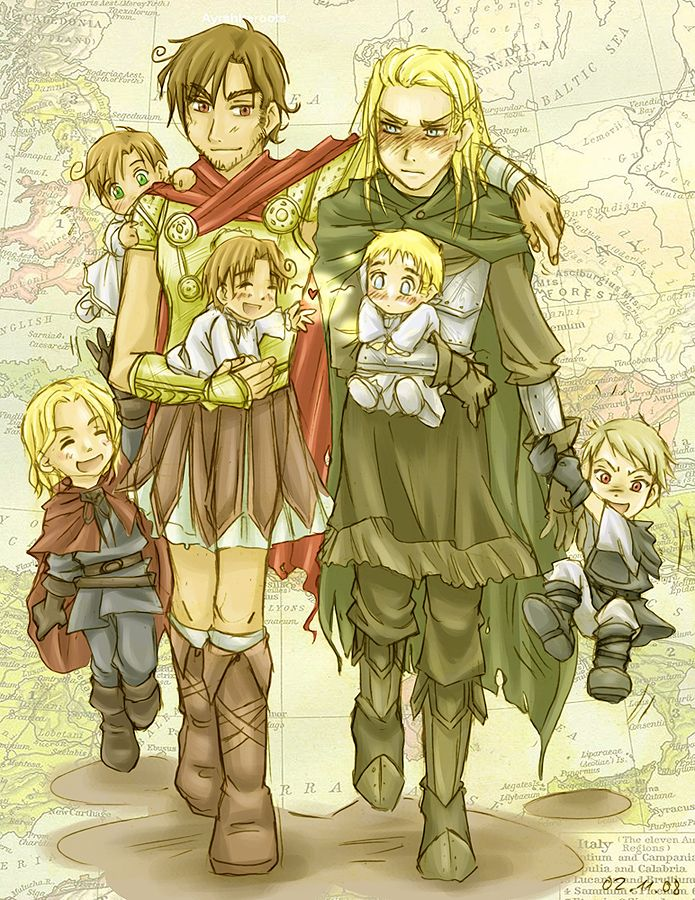 Grandpa Roma and his family with grandpa germania and his family (awwwww XD) -hetalia