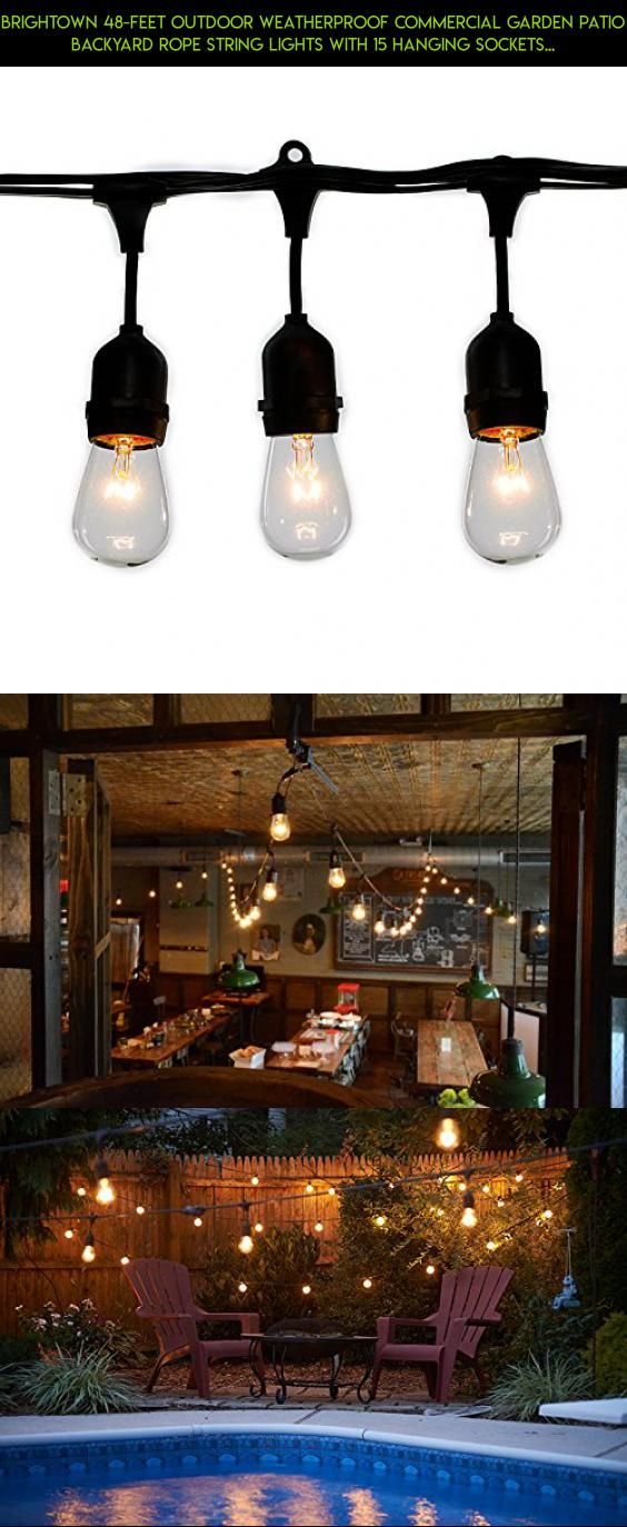 Brightown 48-Feet Outdoor Weatherproof Commercial Garden Patio Backyard Rope String Lights with 15 Hanging Sockets and S14 Bulbs #outdoor #parts #products #drone #technology #plans #racing #camera #fpv #shopping #gadgets #tech #kit #decor #patio