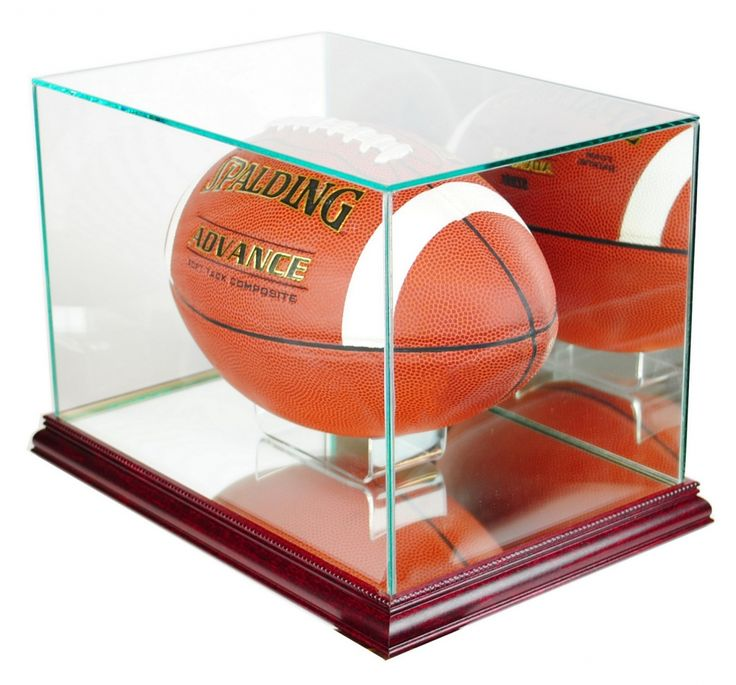 premium rectangle football display case with mirrored back u0026 cherry wood base displaycase autograph
