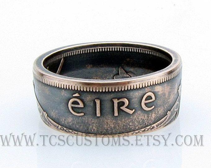 Irlanda 1 Pingin EIRE moneda de anillo, Irlanda, anillo de cobre, bronce, única, monedas joyas, Mens, banda, Mans, anillos