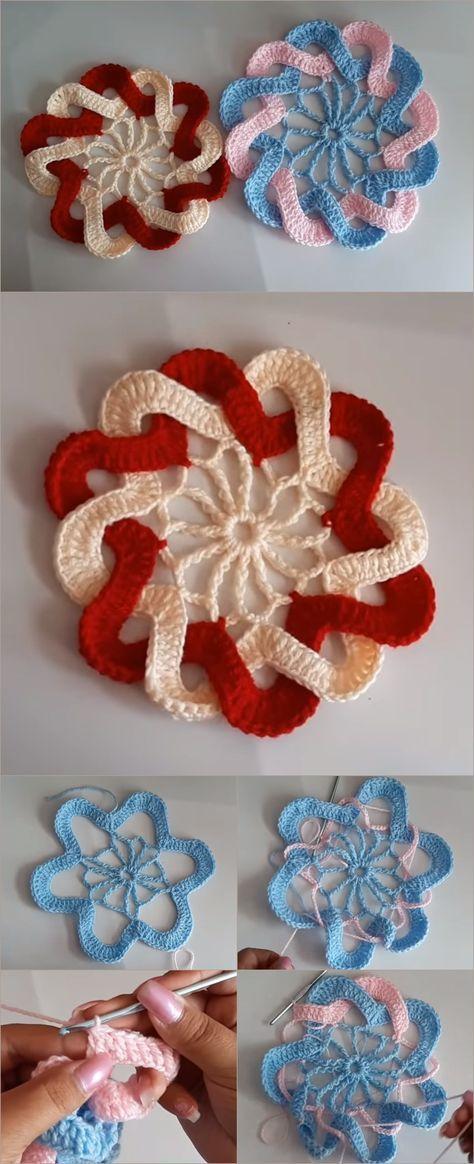 Crochet Interlaced Petals Flower | Klöppeln | Pinterest