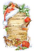 Акварель Рождество граница. Акварель Рождественский фон. Рождественская елка. Симпатичные зимняя птица. Подарочная коробка, оленей, Рождественский фон акварель — стоковое фото #91026068