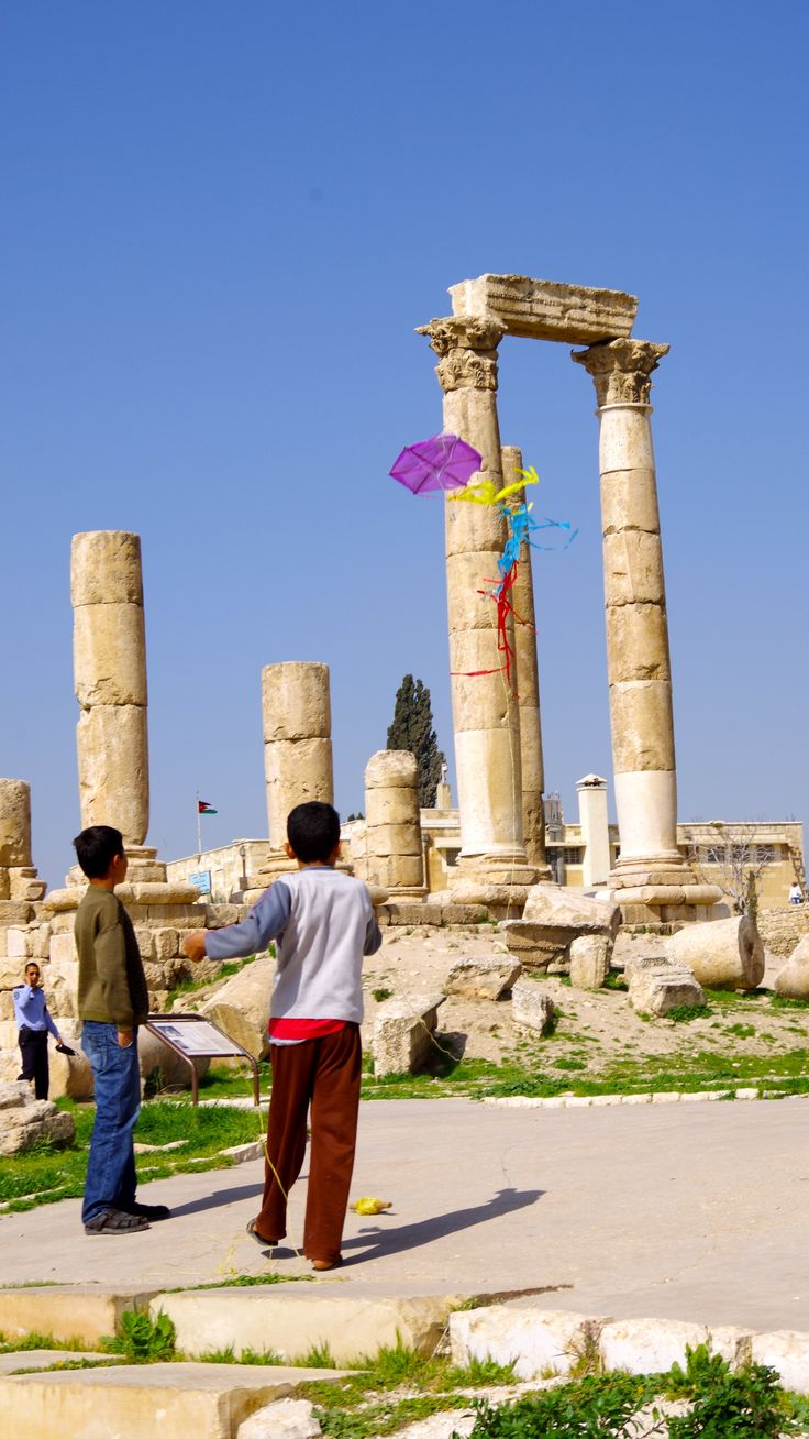 Children with kites in the Amman Citadel. Jordan. March 2013. Photo by Kayla Hedman.
