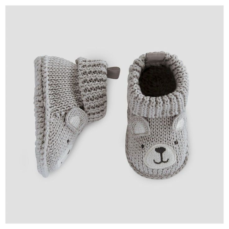 Baby Boys' Bear Booties Grey NB - Just One You Made by Carter's, Infant Unisex