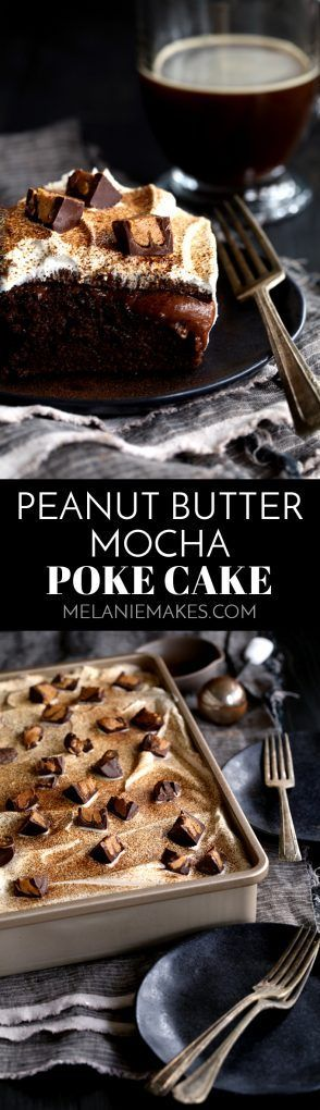 This Peanut Butter Mocha Poke cake is so decadent, so rich, and so incredibly easy! A mocha chocolate cake is flooded with peanut butter chocolate pudding before being topped with layers of mocha ganache, whipped topping and dark chocolate peanut butter c