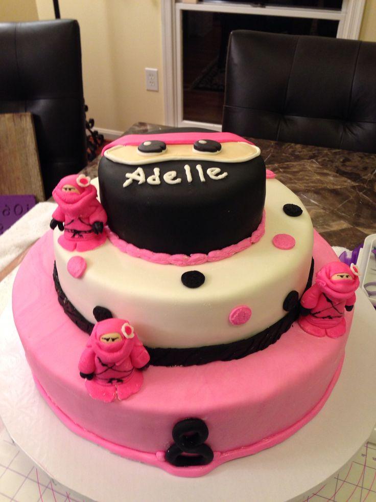 Pink ninja birthday cake