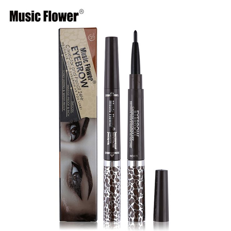 Music Flower 1PC Double-end Waterproof Black Eyebrow Pencil mix 3 Colors Eyebrow Cream Mascara Gel Pro Makeup Eyebrows Set