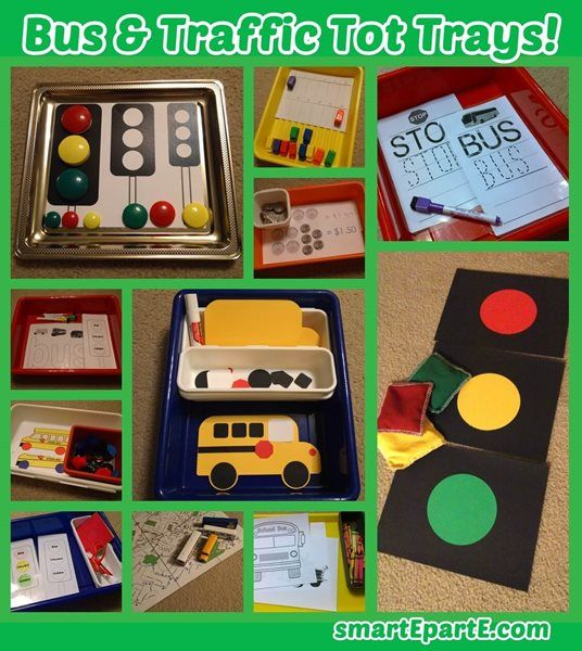 Time to go on the bus! We had fun this week learning about buses and traffic in tot school!