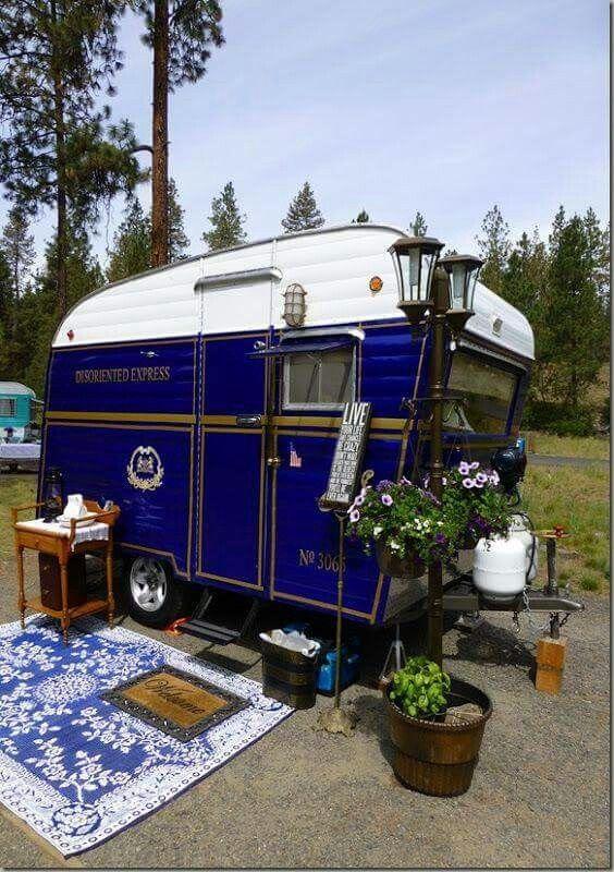 """Disoriented Express"" Dark blue vintage camper   Tiny Trailer - travel caravan- glamping <O> SOTF [Sister #3065]"