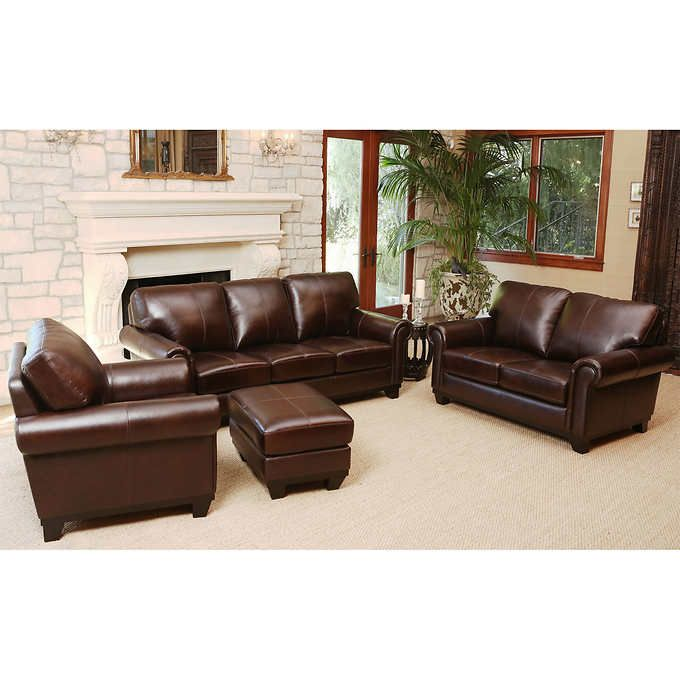 Amberlyn 4-piece Top Grain Leather Living Room Set